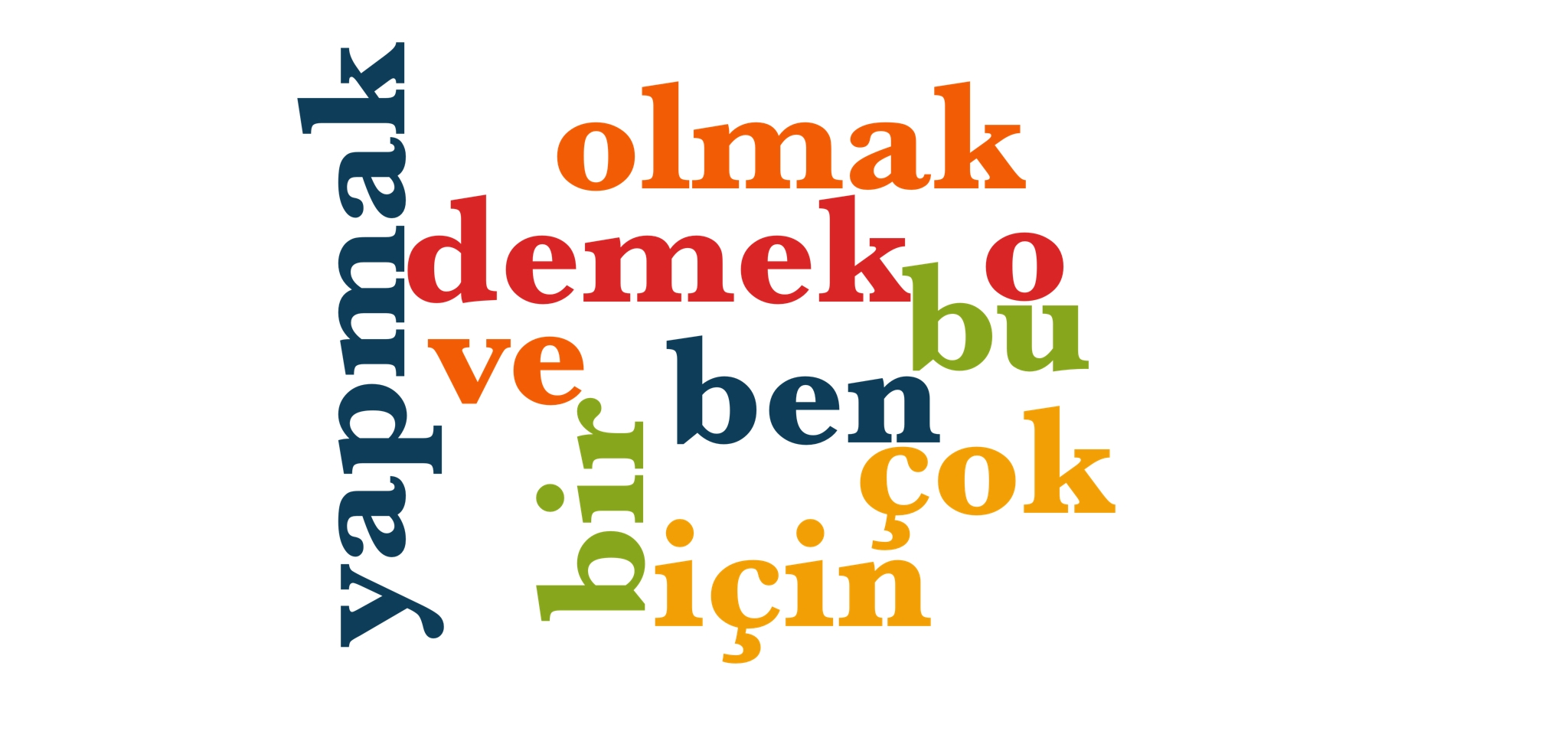 Wörter 1 bis 10 der 1000 häufigsten Wörter der türkischen Sprache