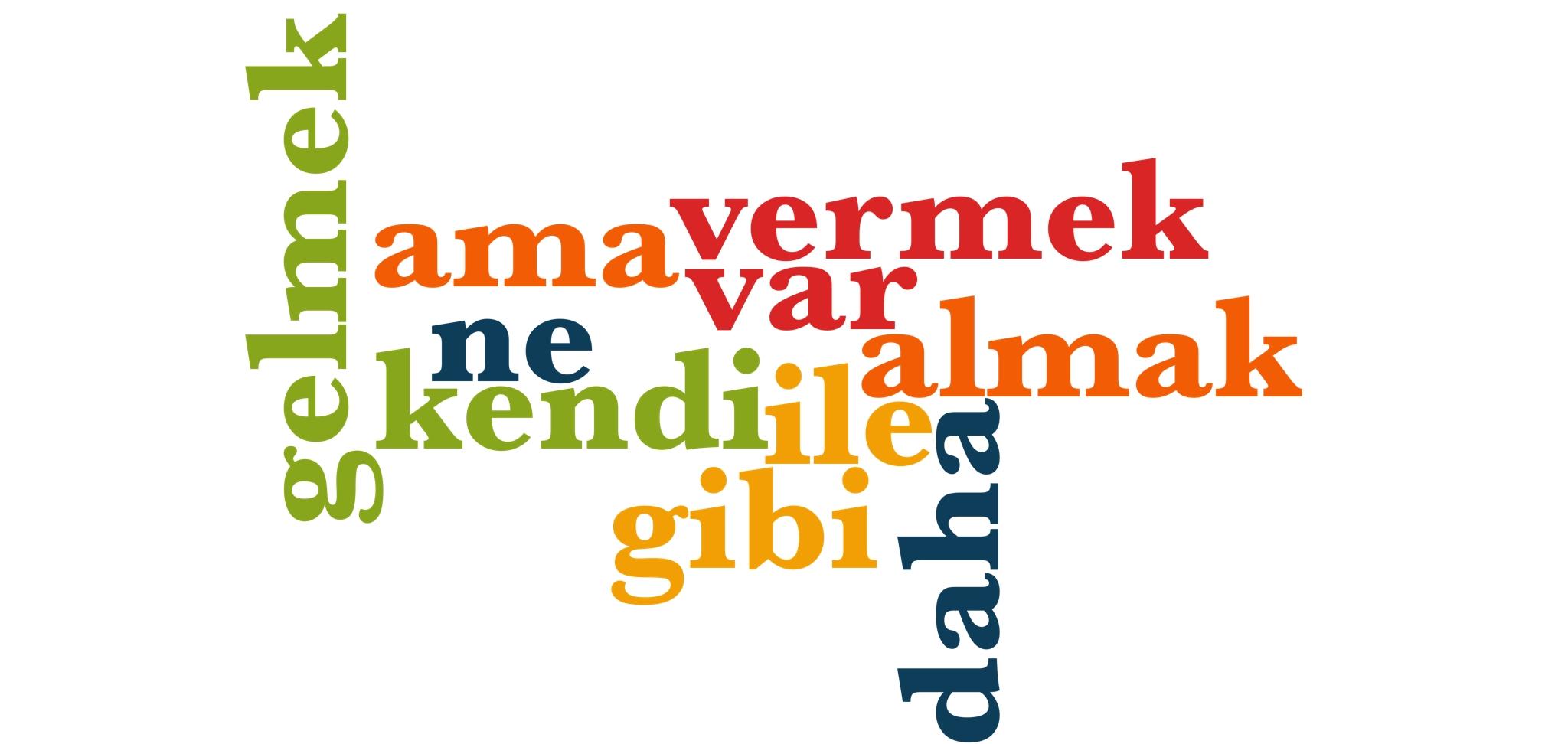 Wörter 11 bis 20 der 1000 häufigsten Wörter der türkischen Sprache