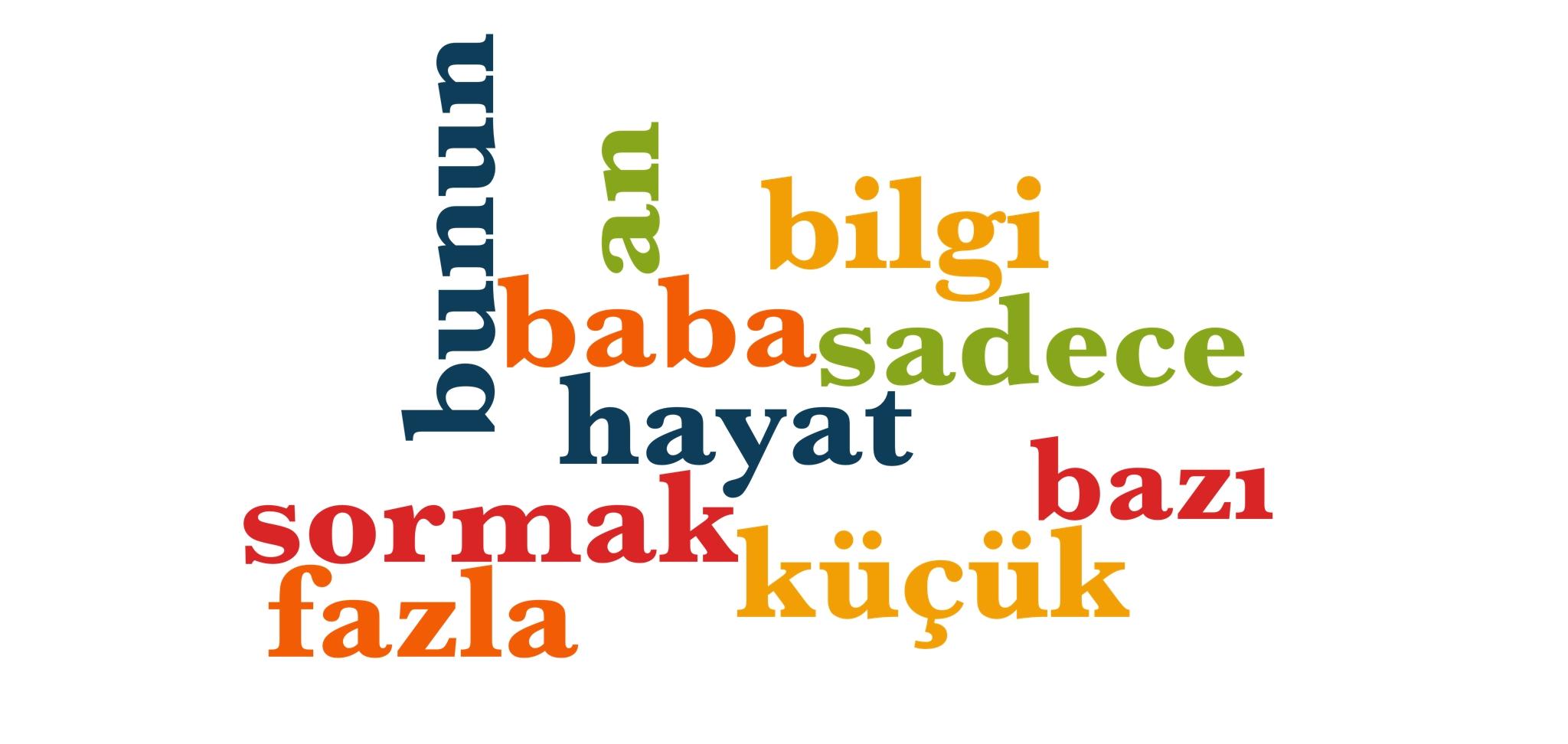 Wörter 131 bis 140 der 1000 häufigsten Wörter der türkischen Sprache