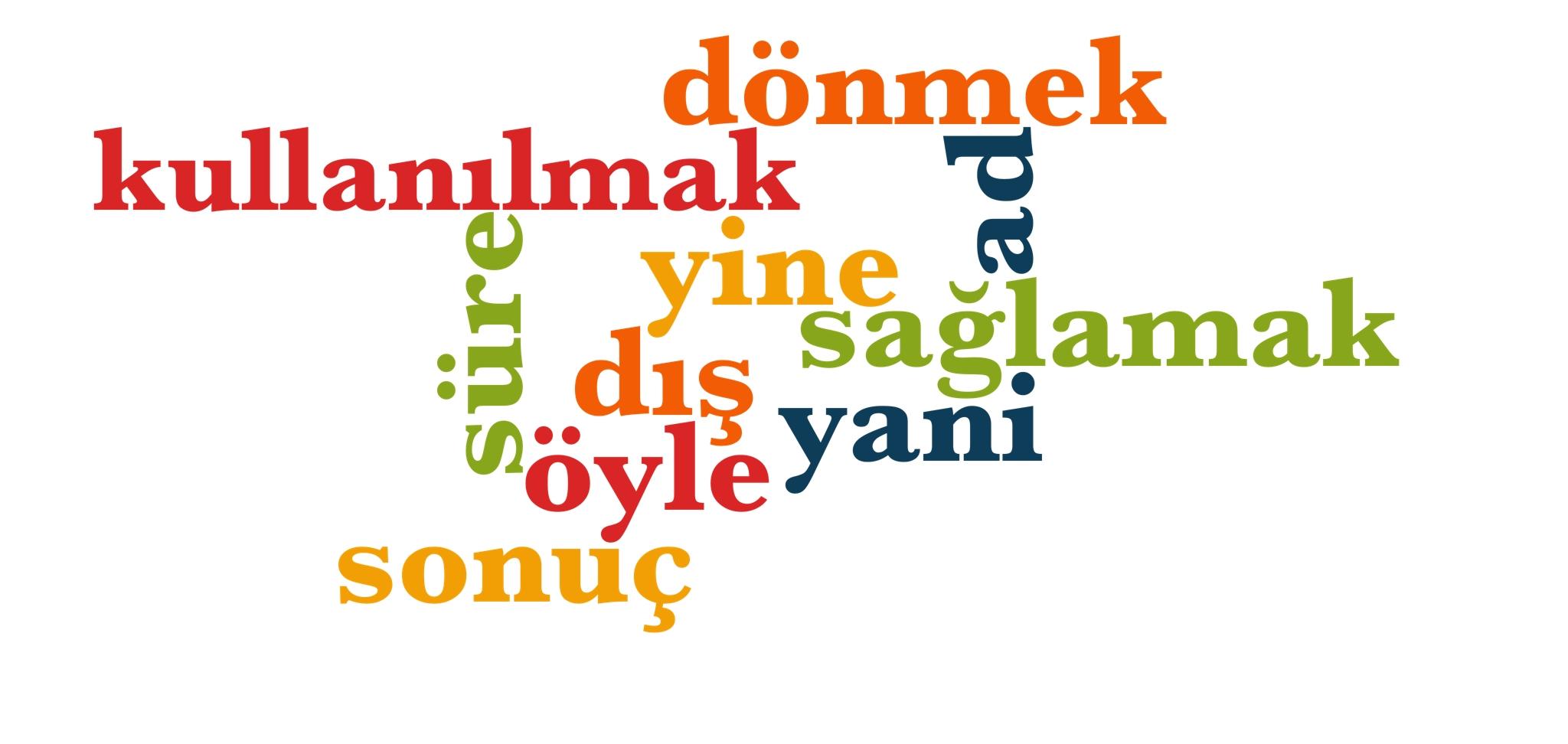 Wörter 141 bis 150 der 1000 häufigsten Wörter der türkischen Sprache