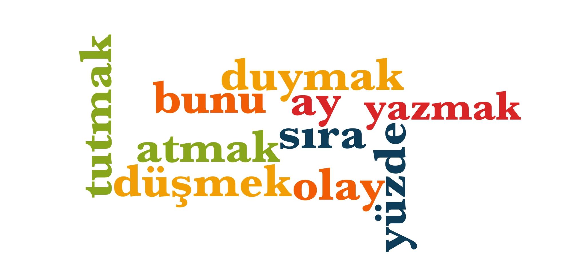 Wörter 161 bis 170 der 1000 häufigsten Wörter der türkischen Sprache