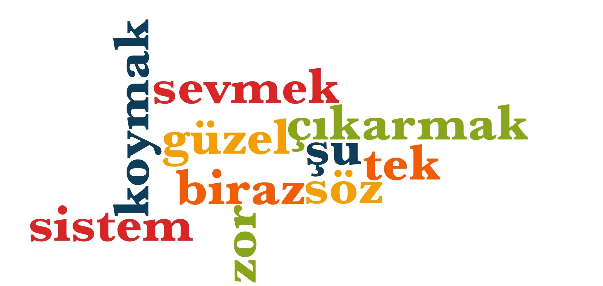 Wörter 171 bis 180 der 1000 häufigsten Wörter der türkischen Sprache