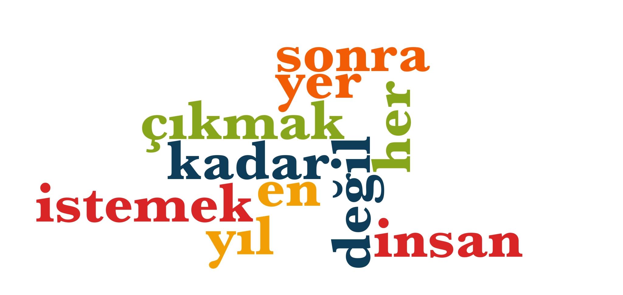 Wörter 21 bis 30 der 1000 häufigsten Wörter der türkischen Sprache