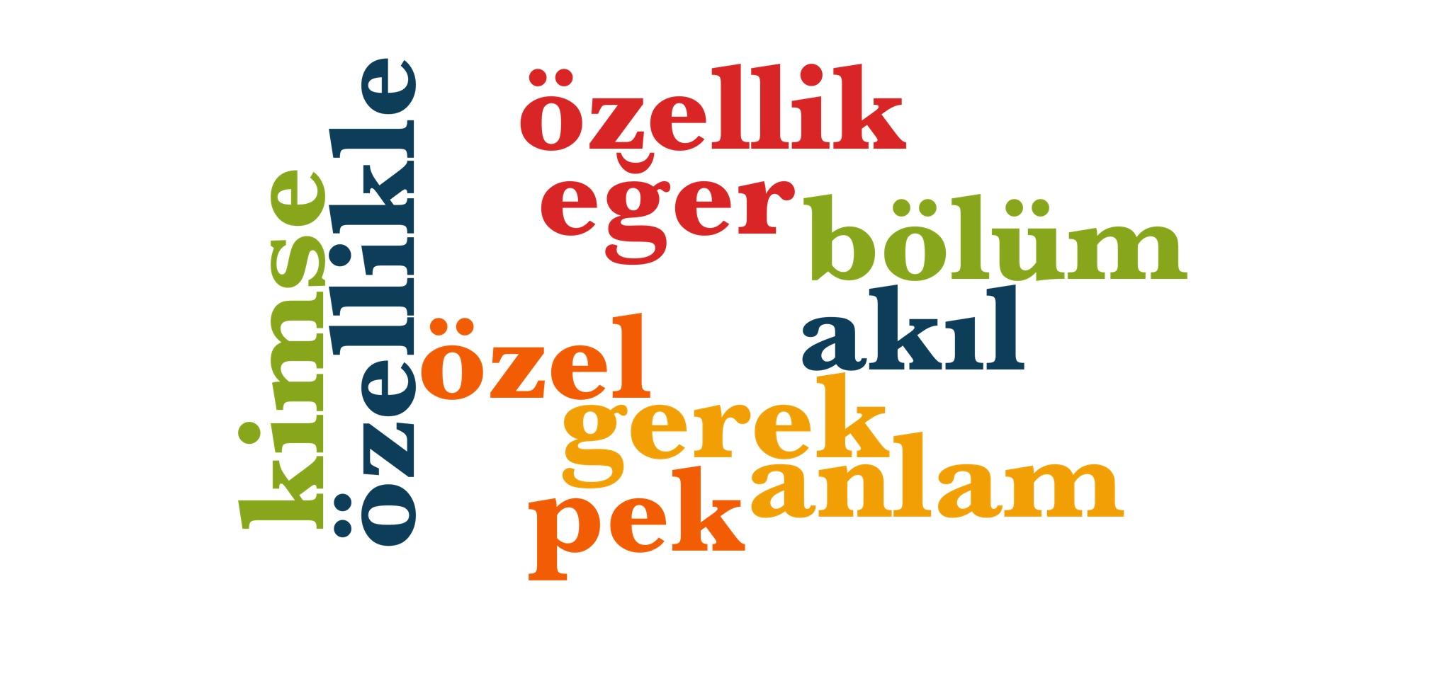 Wörter 221 bis 230 der 1000 häufigsten Wörter der türkischen Sprache