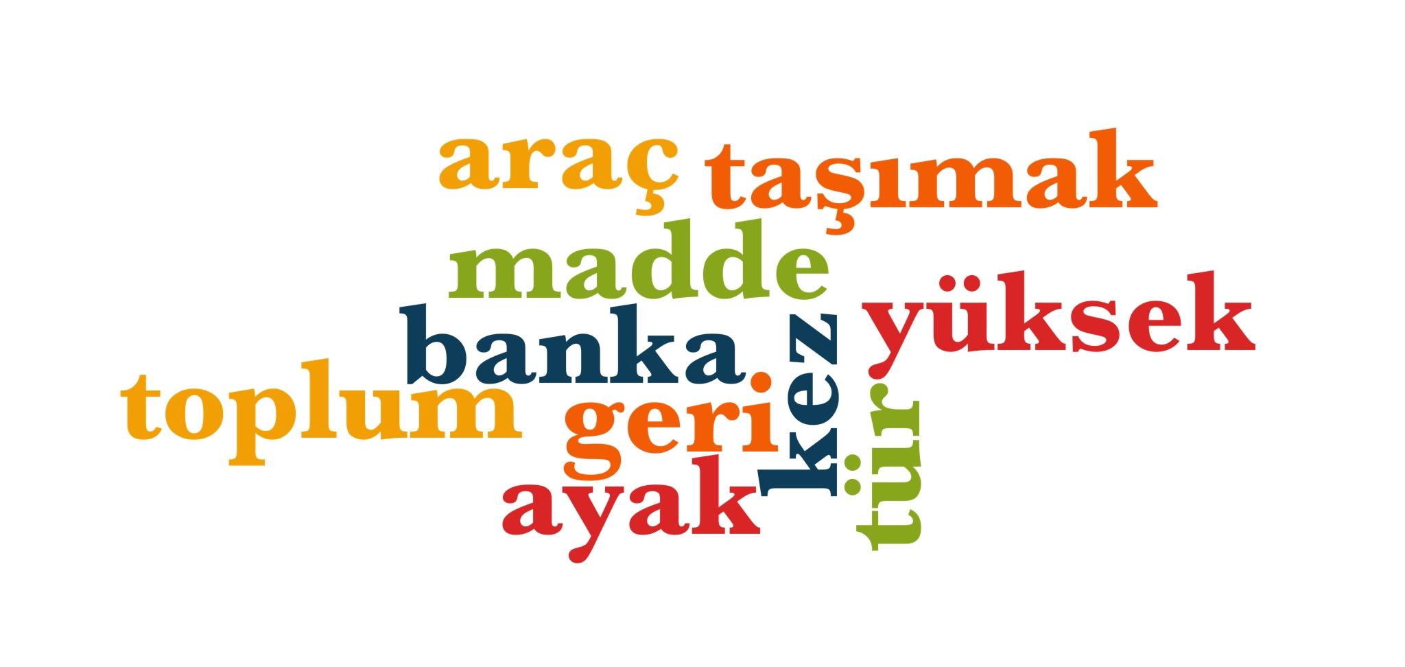 Wörter 231 bis 240 der 1000 häufigsten Wörter der türkischen Sprache