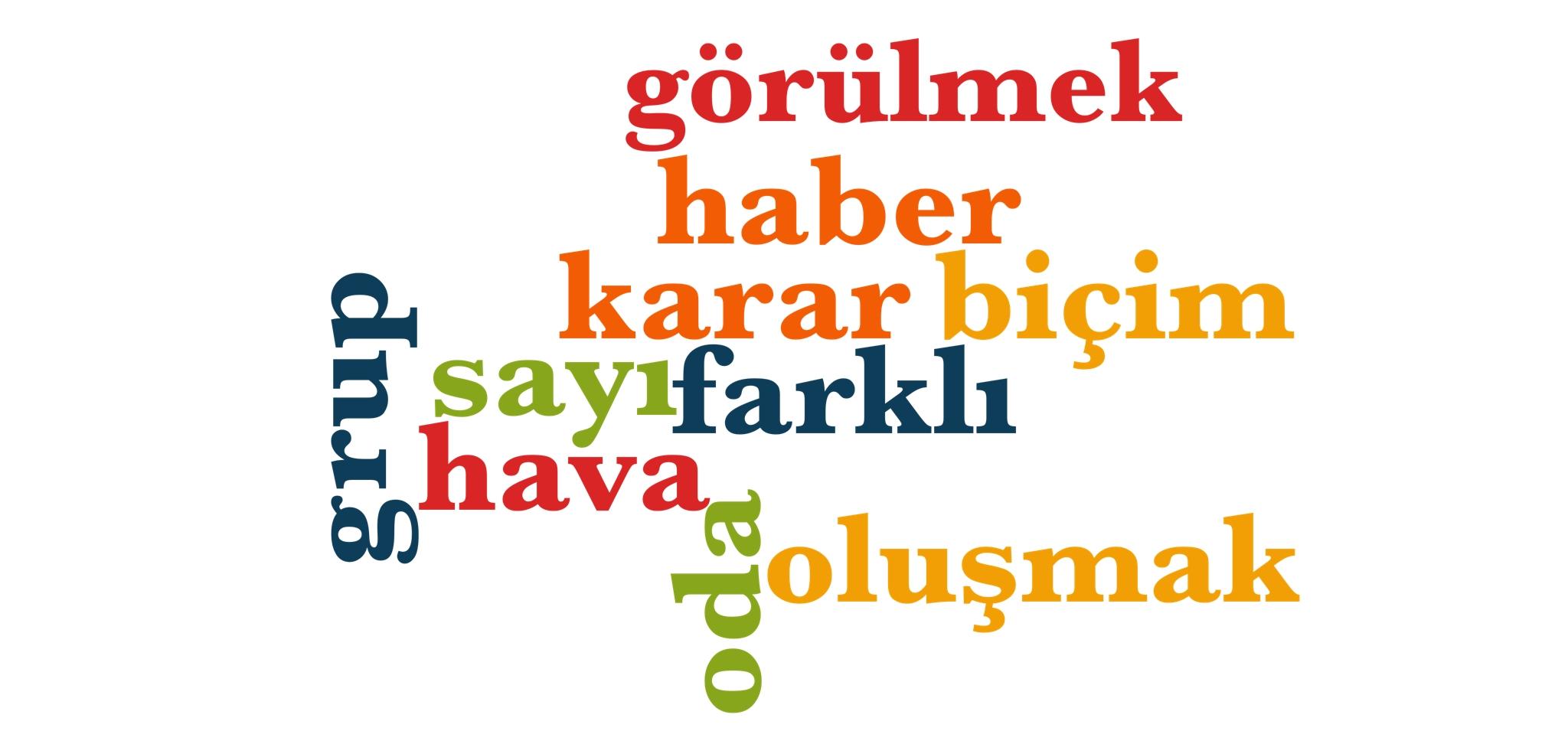 Wörter 241 bis 250 der 1000 häufigsten Wörter der türkischen Sprache