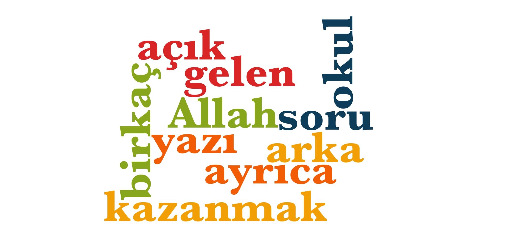 Wörter 251 bis 260 der 1000 häufigsten Wörter der türkischen Sprache