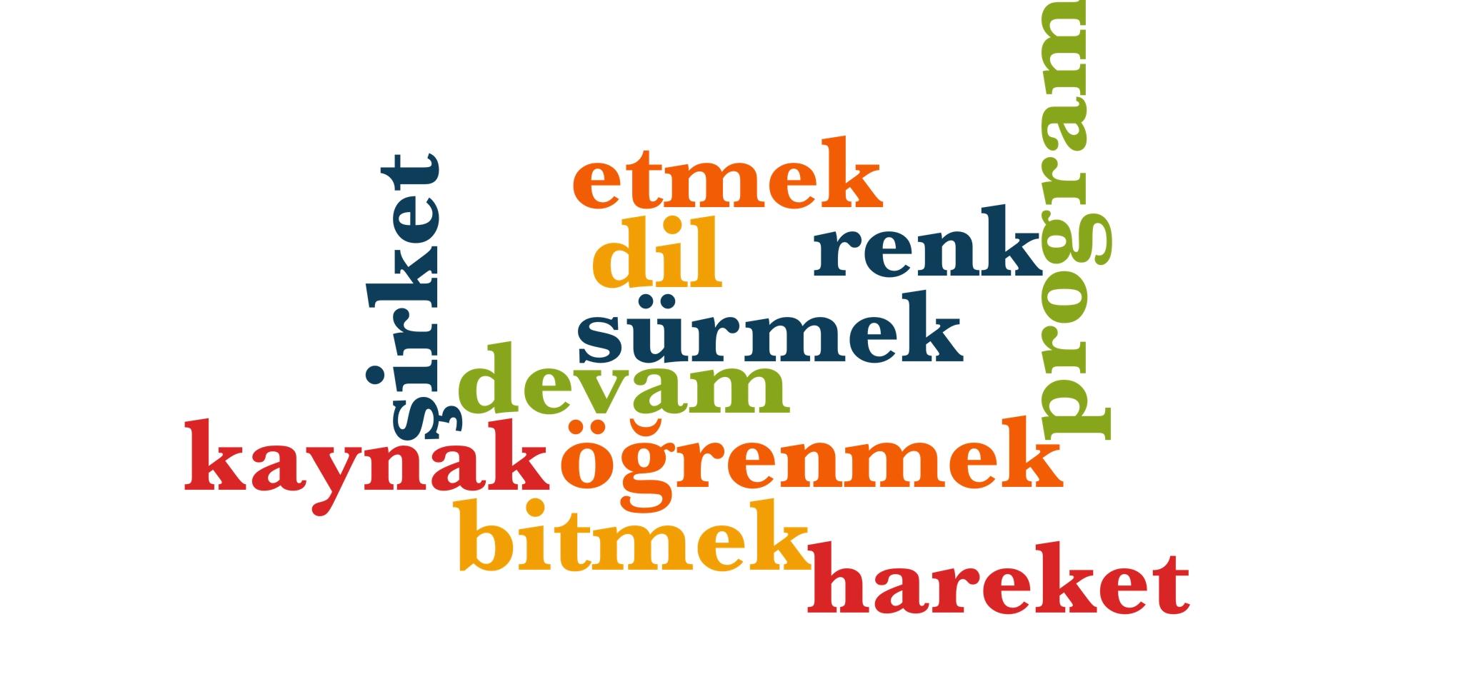 Wörter 261 bis 270 der 1000 häufigsten Wörter der türkischen Sprache