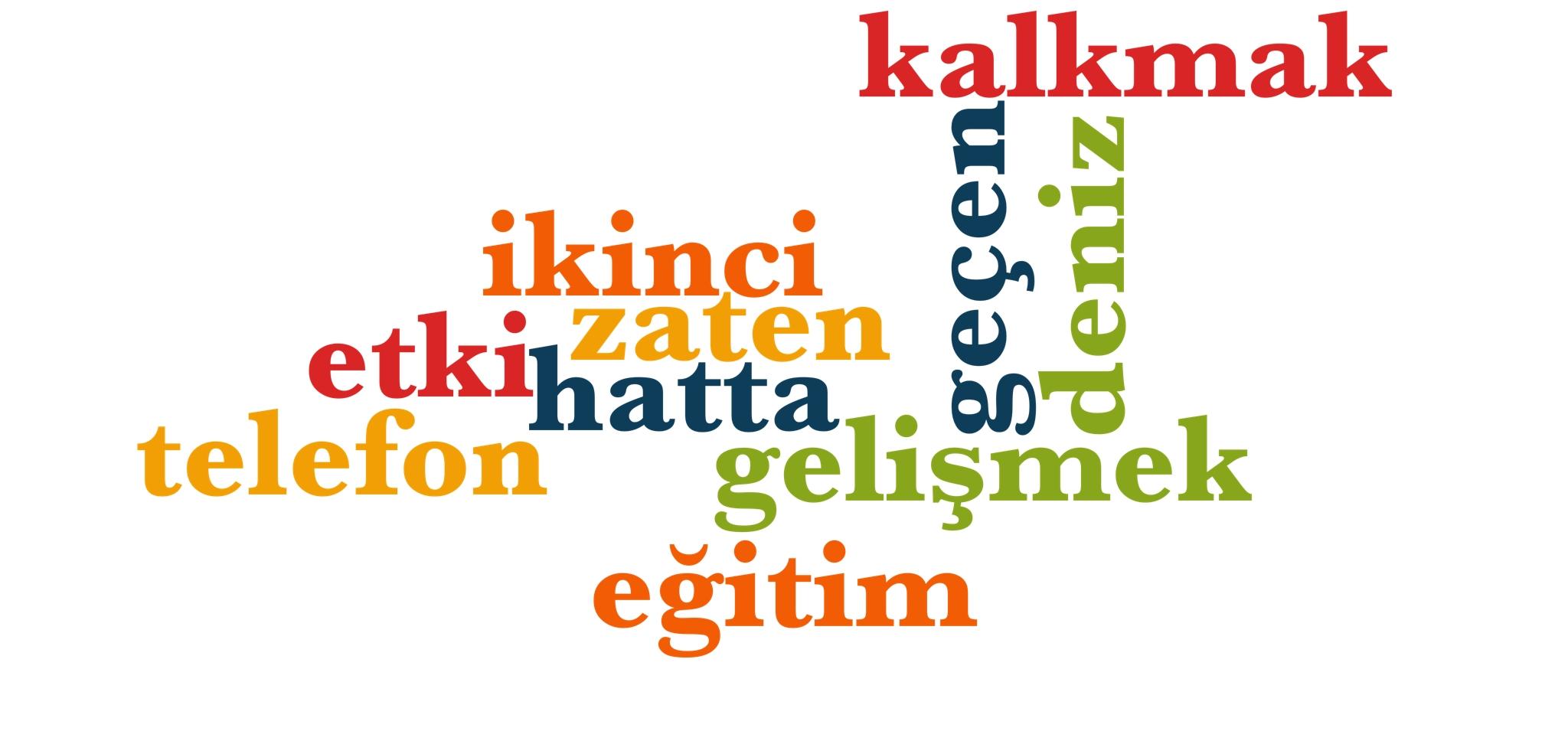 Wörter 291 bis 300 der 1000 häufigsten Wörter der türkischen Sprache