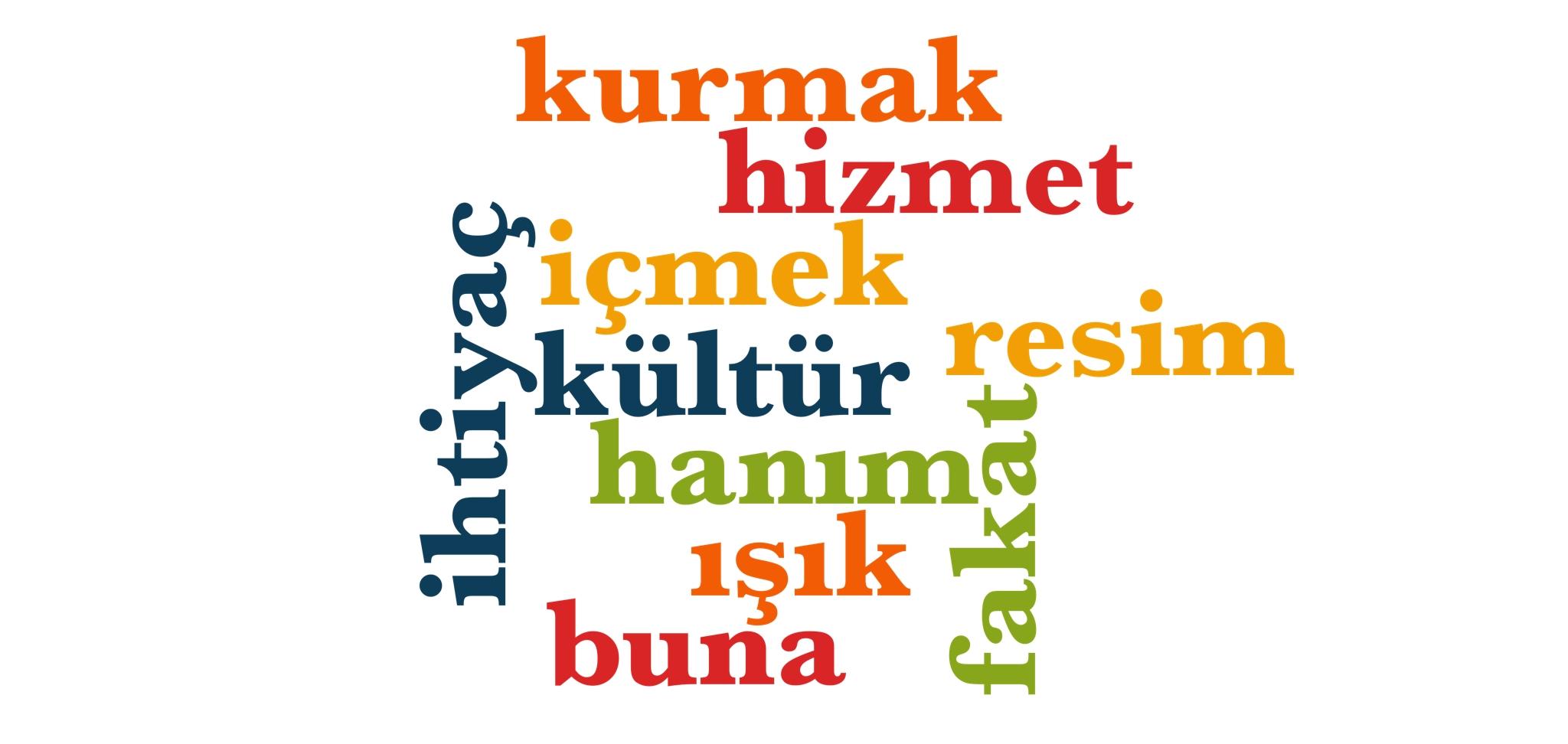 Wörter 311 bis 320 der 1000 häufigsten Wörter der türkischen Sprache