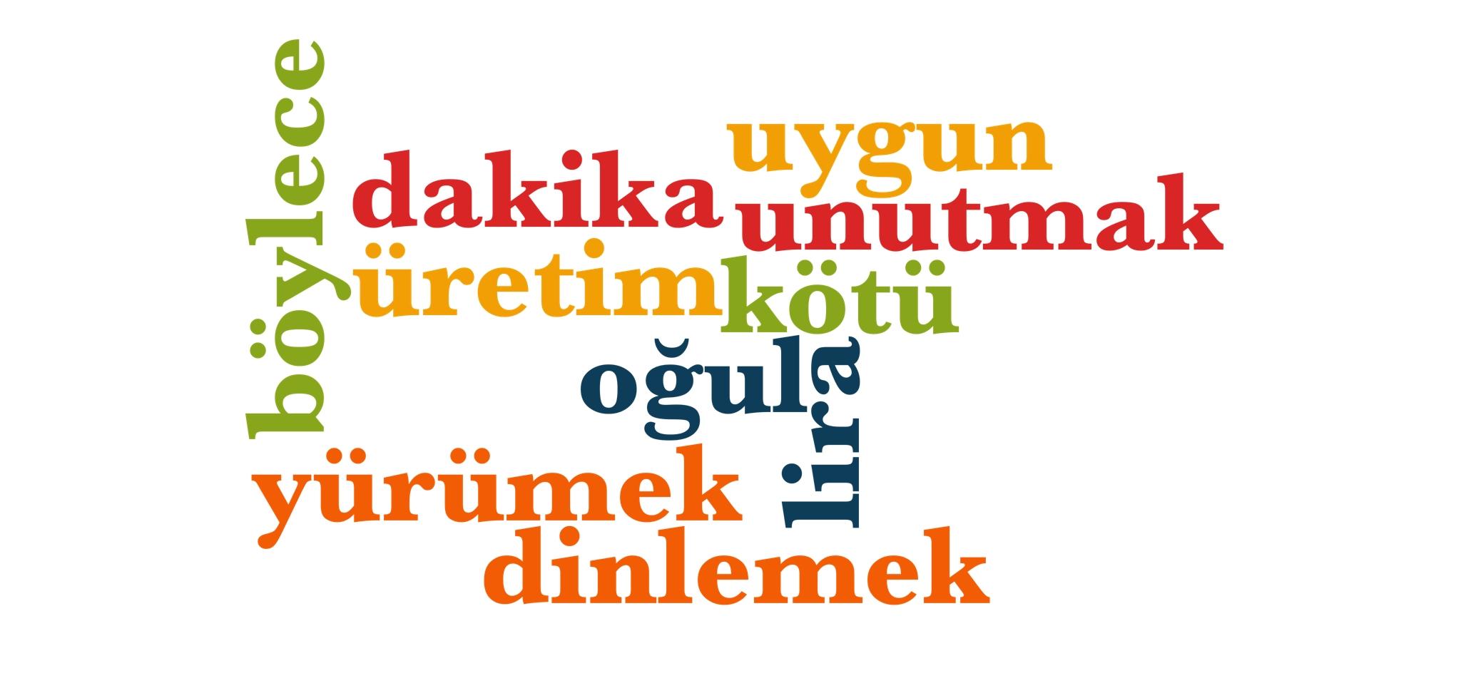 Wörter 341 bis 350 der 1000 häufigsten Wörter der türkischen Sprache