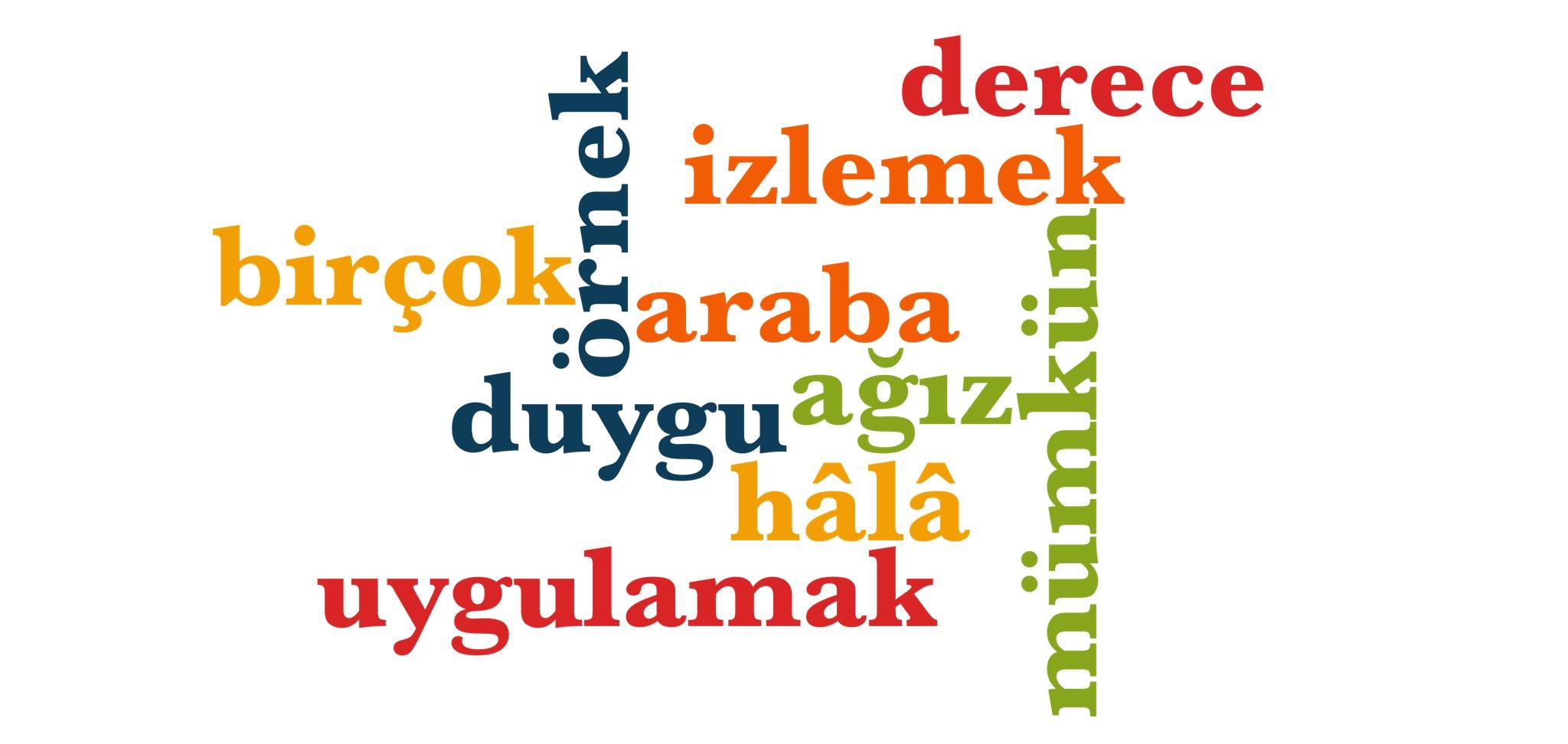Wörter 351 bis 360 der 1000 häufigsten Wörter der türkischen Sprache