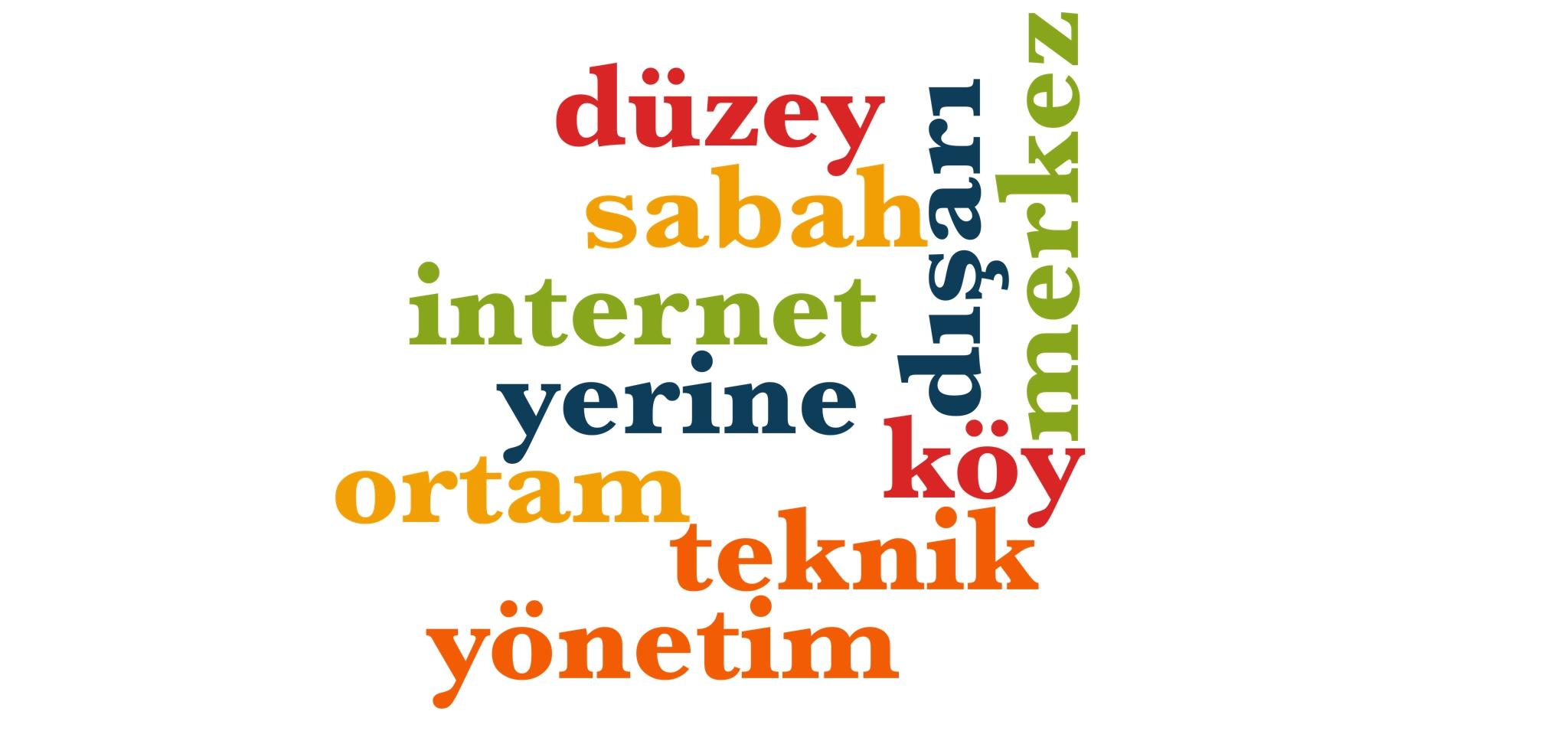 Wörter 391 bis 400 der 1000 häufigsten Wörter der türkischen Sprache