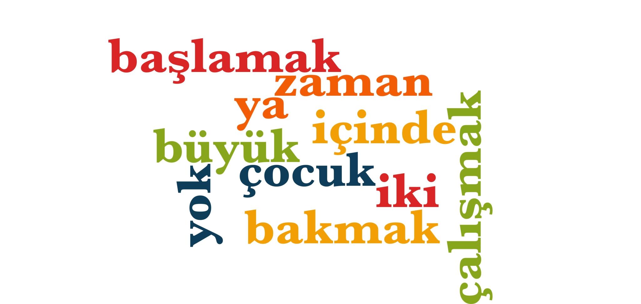 Wörter 41 bis 50 der 1000 häufigsten Wörter der türkischen Sprache
