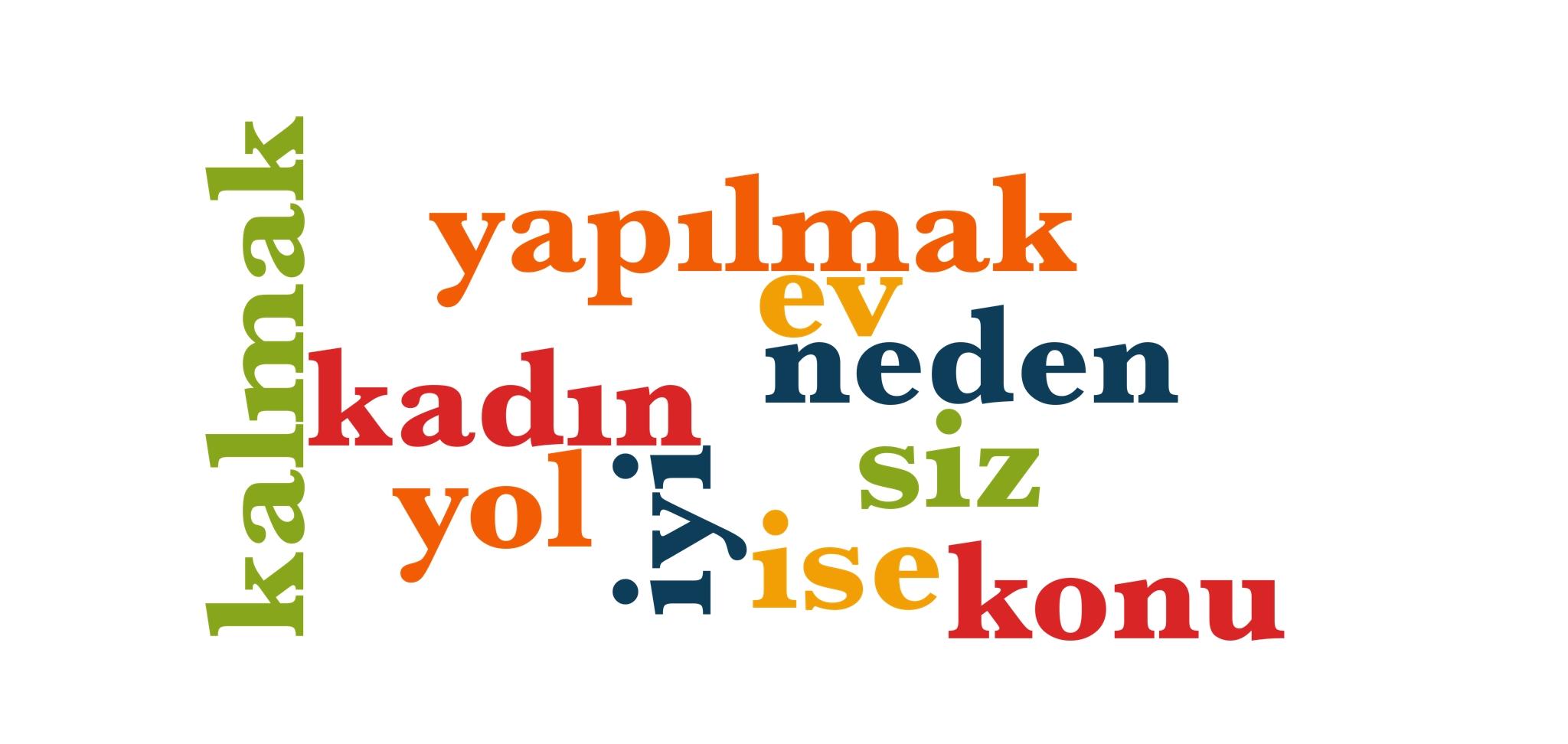 Wörter 51 bis 60 der 1000 häufigsten Wörter der türkischen Sprache