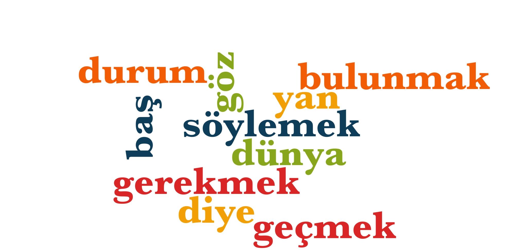 Wörter 61 bis 70 der 1000 häufigsten Wörter der türkischen Sprache