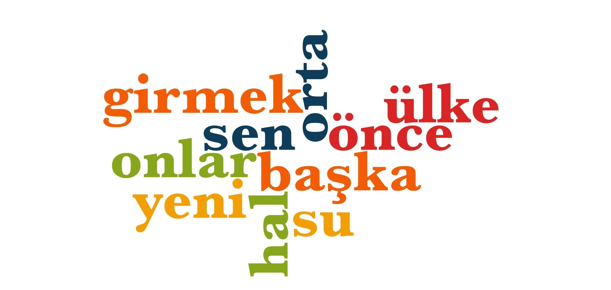 Wörter 71 bis 80 der 1000 häufigsten Wörter der türkischen Sprache