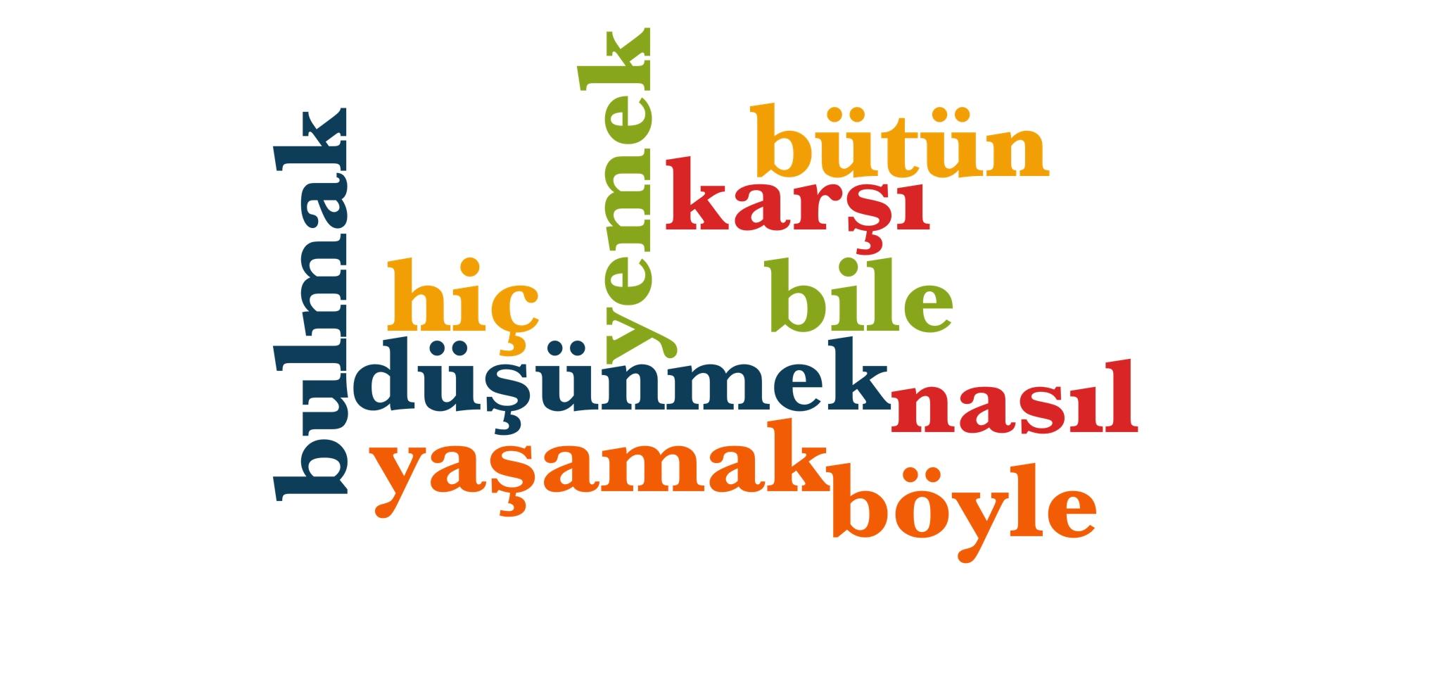 Wörter 81 bis 90 der 1000 häufigsten Wörter der türkischen Sprache