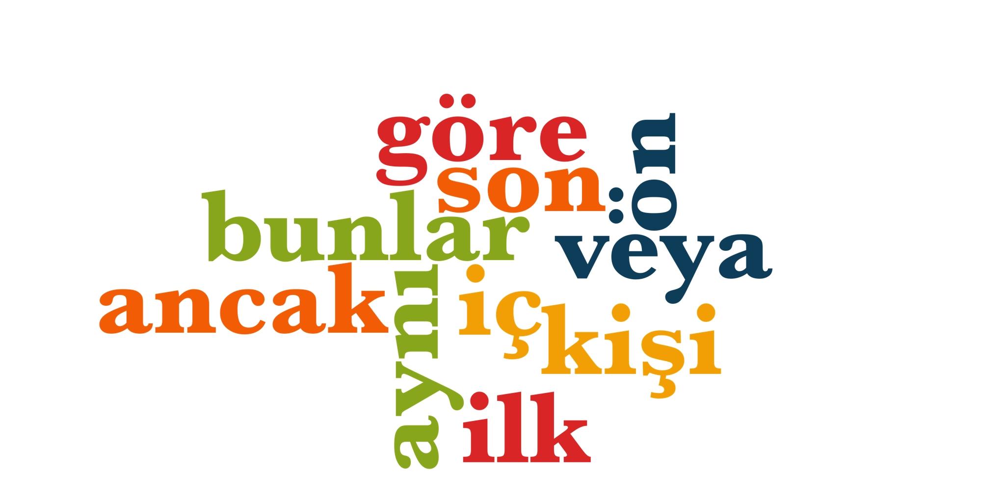 Wörter 91 bis 100 der 1000 häufigsten Wörter der türkischen Sprache