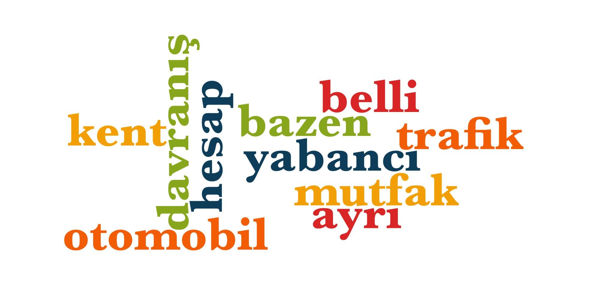 Wörter 421 bis 430 der 1000 häufigsten Wörter der türkischen Sprache