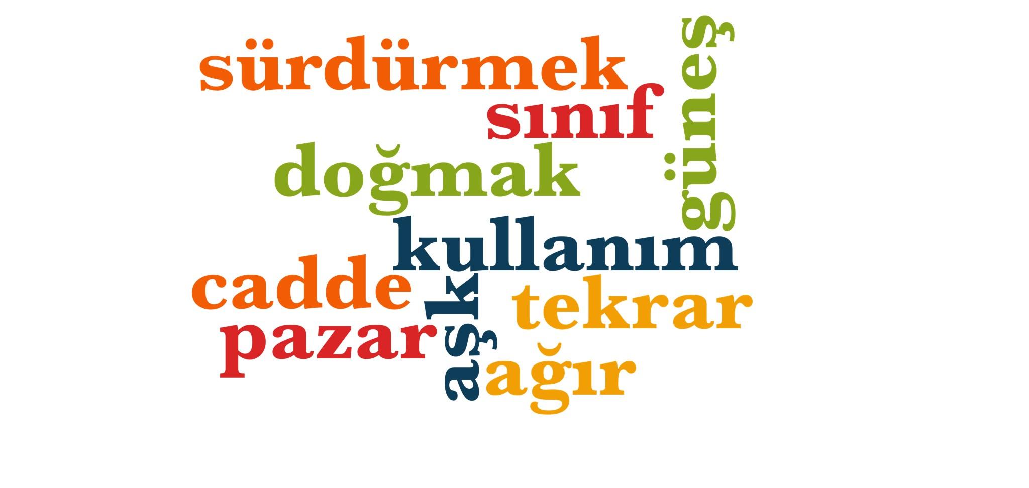Wörter 481 bis 490 der 1000 häufigsten Wörter der türkischen Sprache