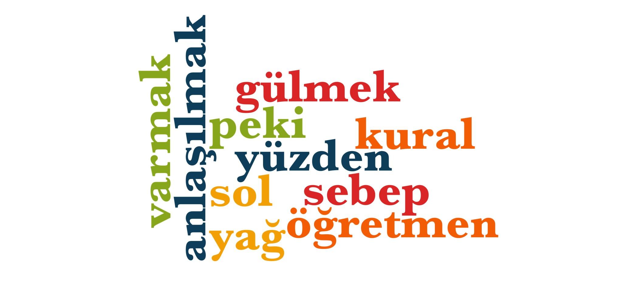 Wörter 501 bis 510 der 1000 häufigsten Wörter der türkischen Sprache