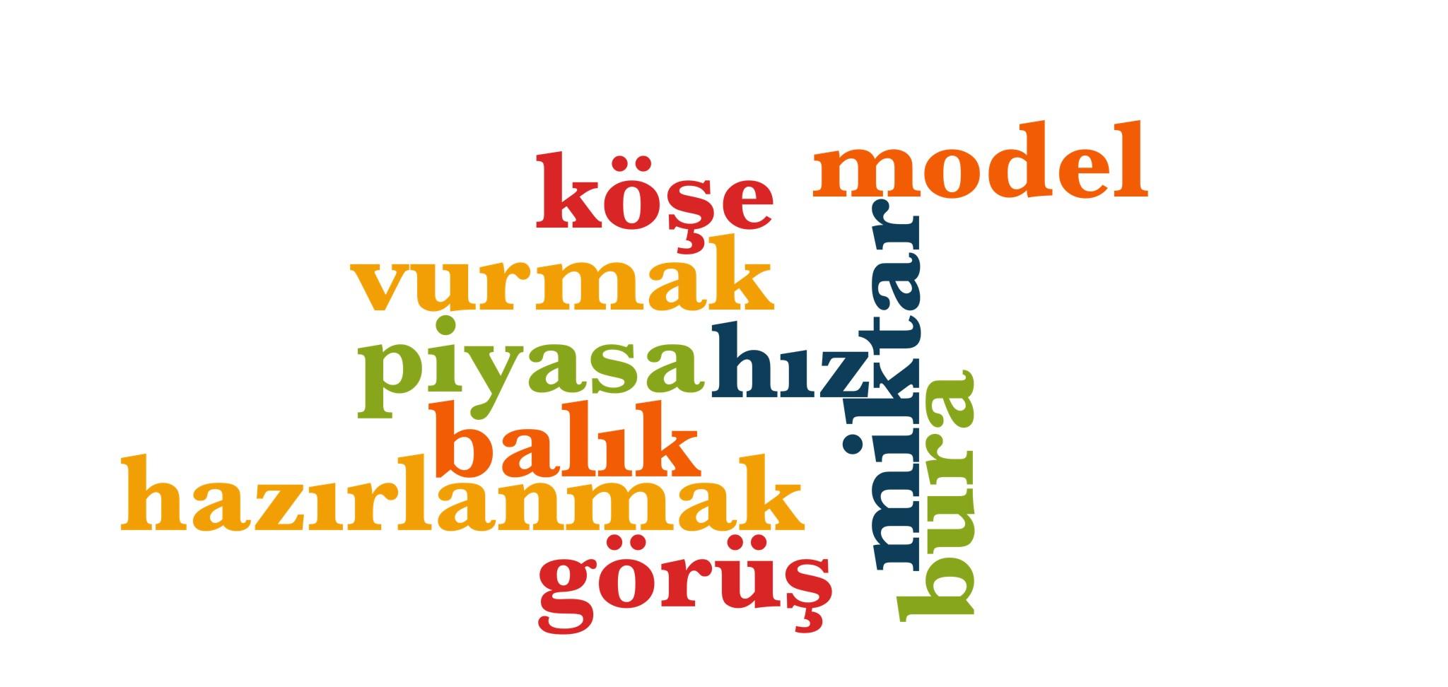 Wörter 521 bis 530 der 1000 häufigsten Wörter der türkischen Sprache