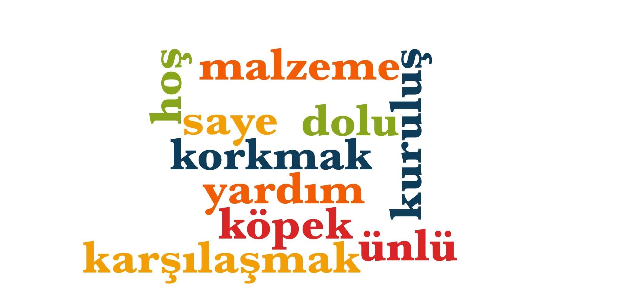 Wörter 541 bis 550 der 1000 häufigsten Wörter der türkischen Sprache