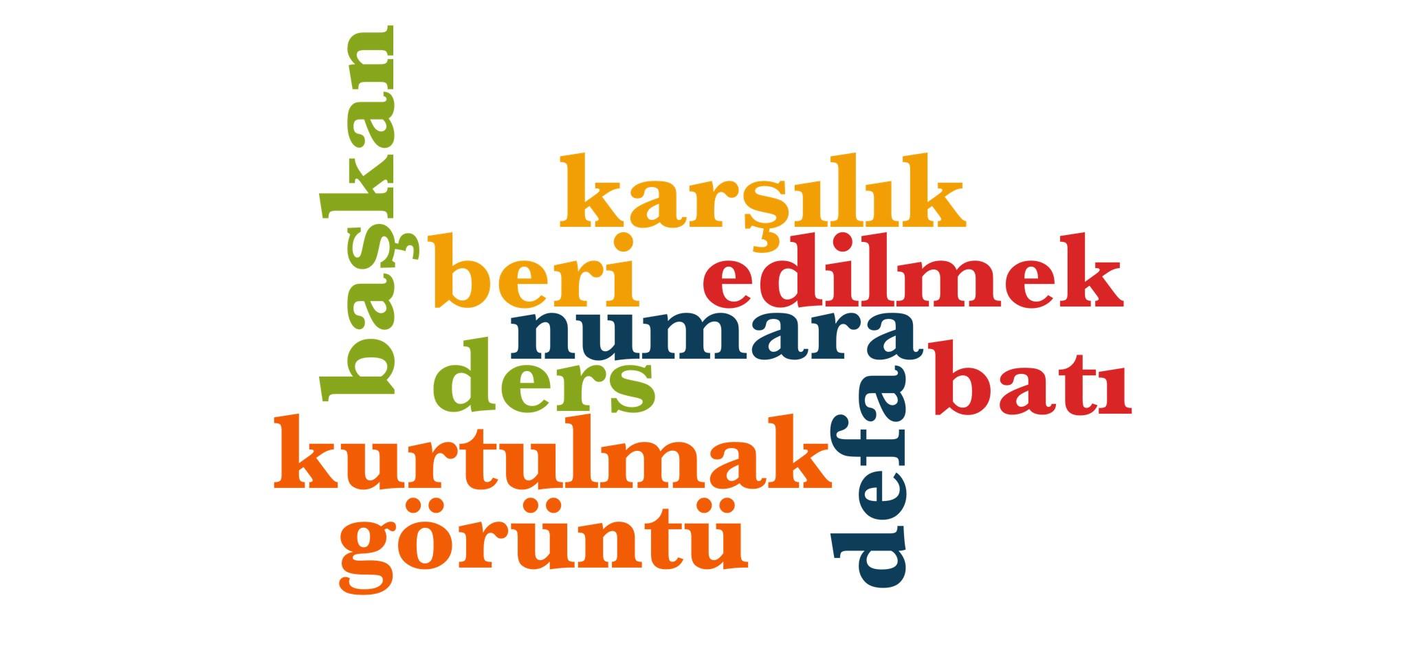 Wörter 591 bis 600 der 1000 häufigsten Wörter der türkischen Sprache
