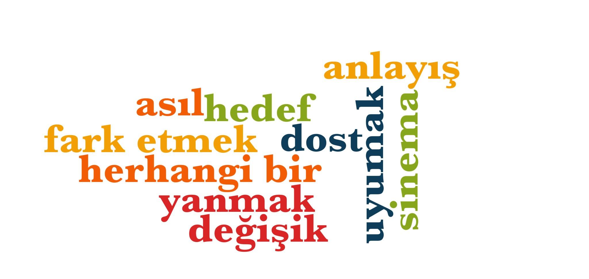 Wörter 600 bis 610 der 1000 häufigsten Wörter der türkischen Sprache