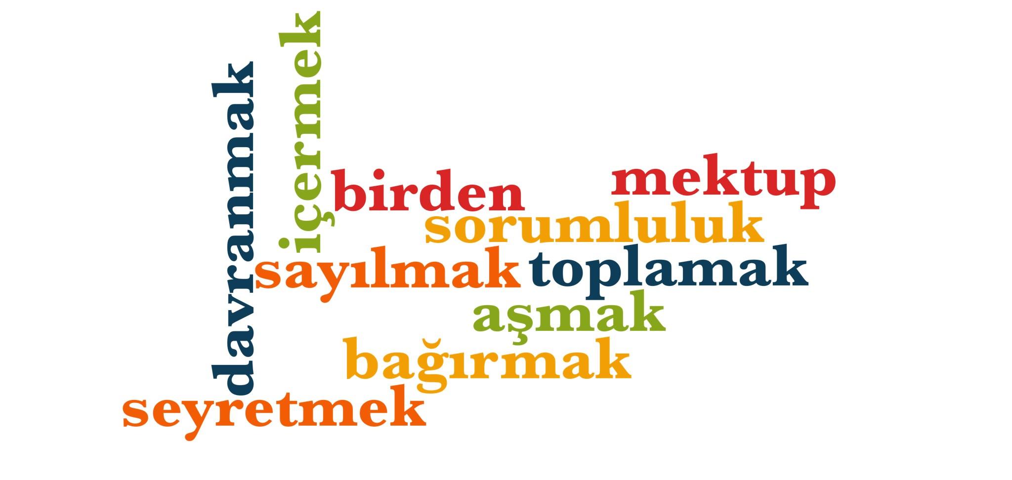 Wörter 661 bis 670 der 1000 häufigsten Wörter der türkischen Sprache