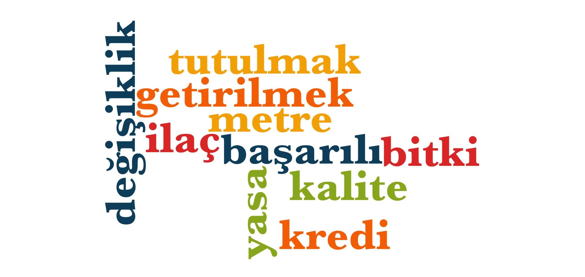 Wörter 681 bis 690 der 1000 häufigsten Wörter der türkischen Sprache