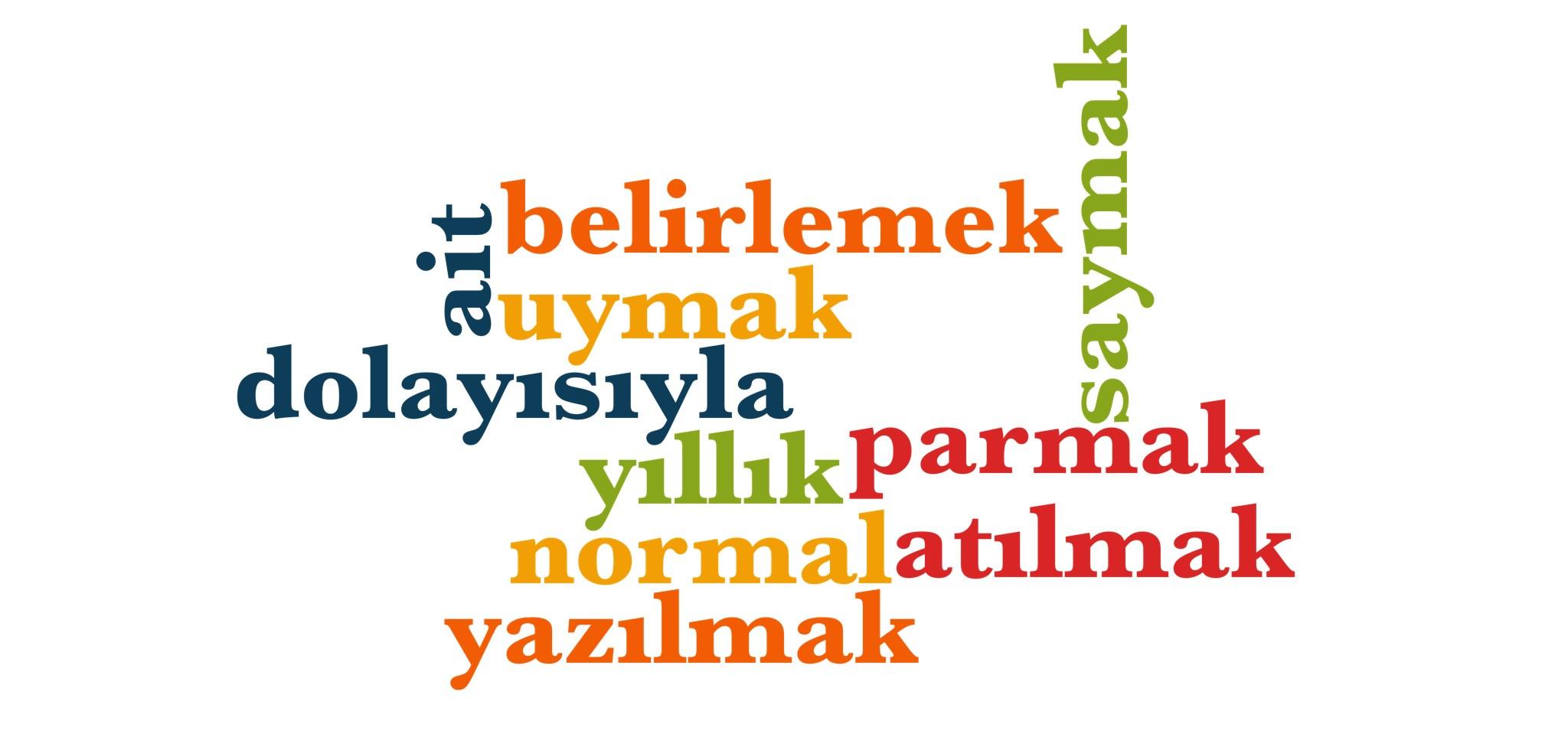 Wörter 701 bis 710 der 1000 häufigsten Wörter der türkischen Sprache