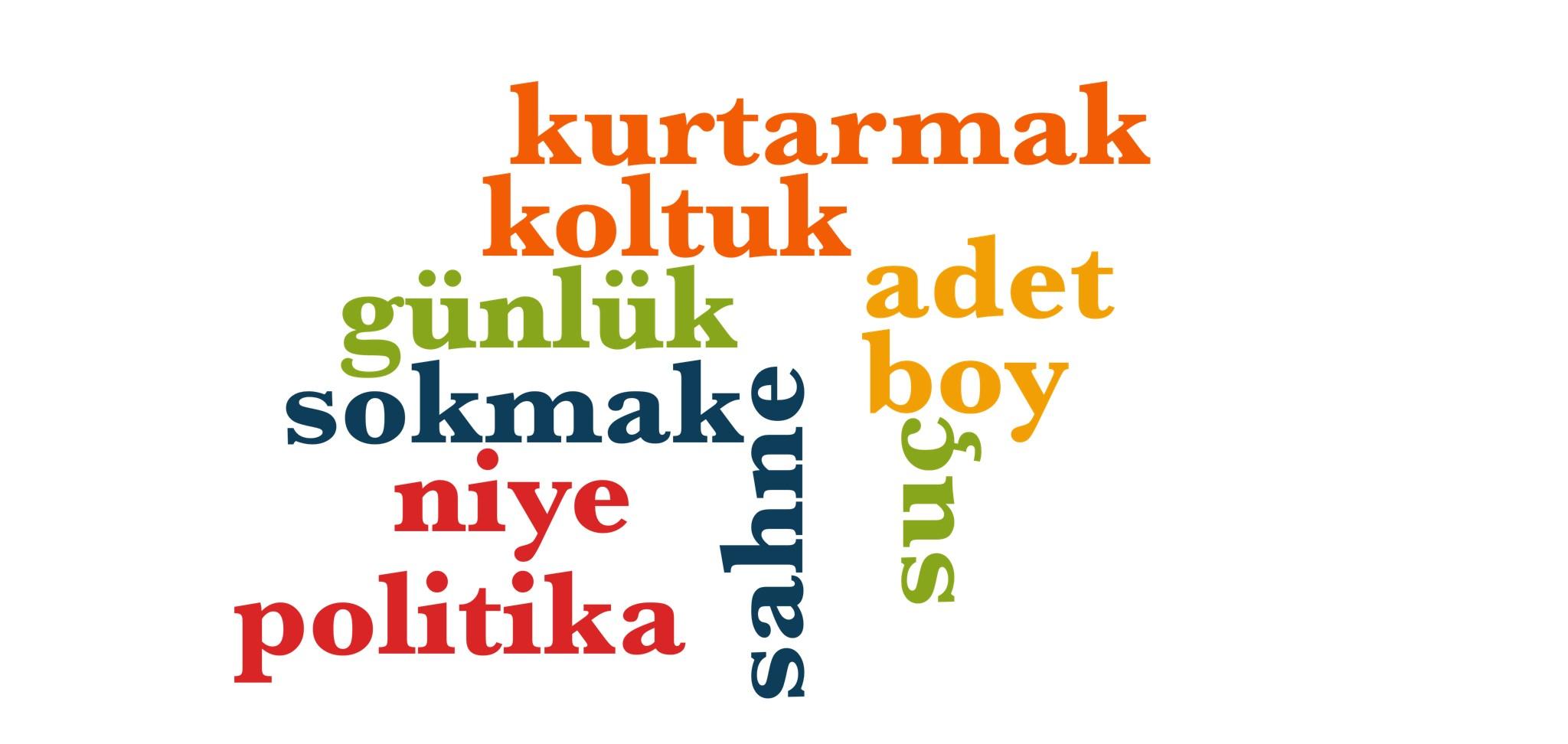 Wörter 721 bis 730 der 1000 häufigsten Wörter der türkischen Sprache