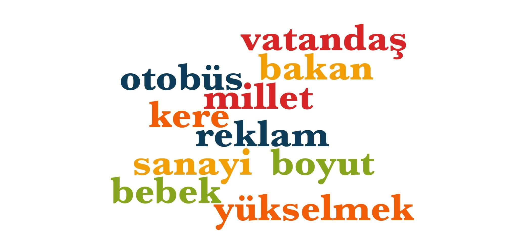 Wörter 761 bis 770 der 1000 häufigsten Wörter der türkischen Sprache