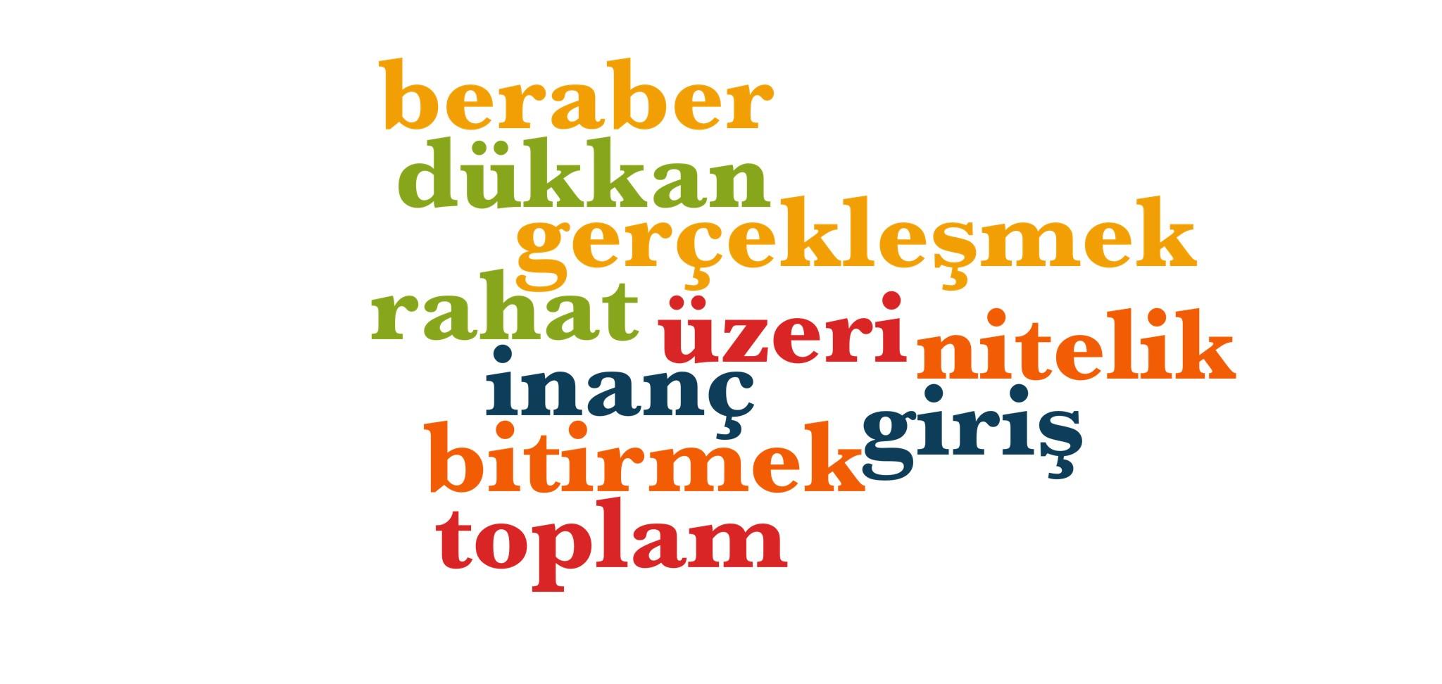 Wörter 781 bis 790 der 1000 häufigsten Wörter der türkischen Sprache
