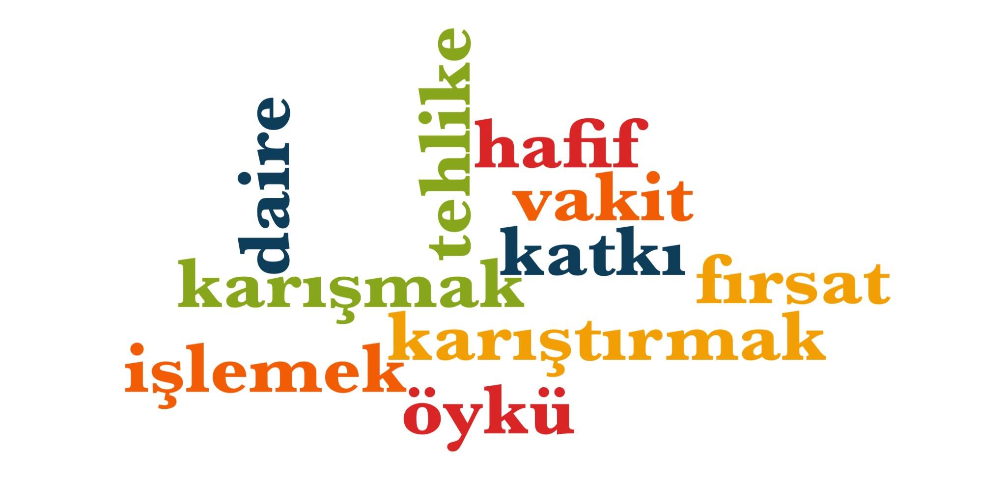 Wörter 831 bis 840 der 1000 häufigsten Wörter der türkischen Sprache