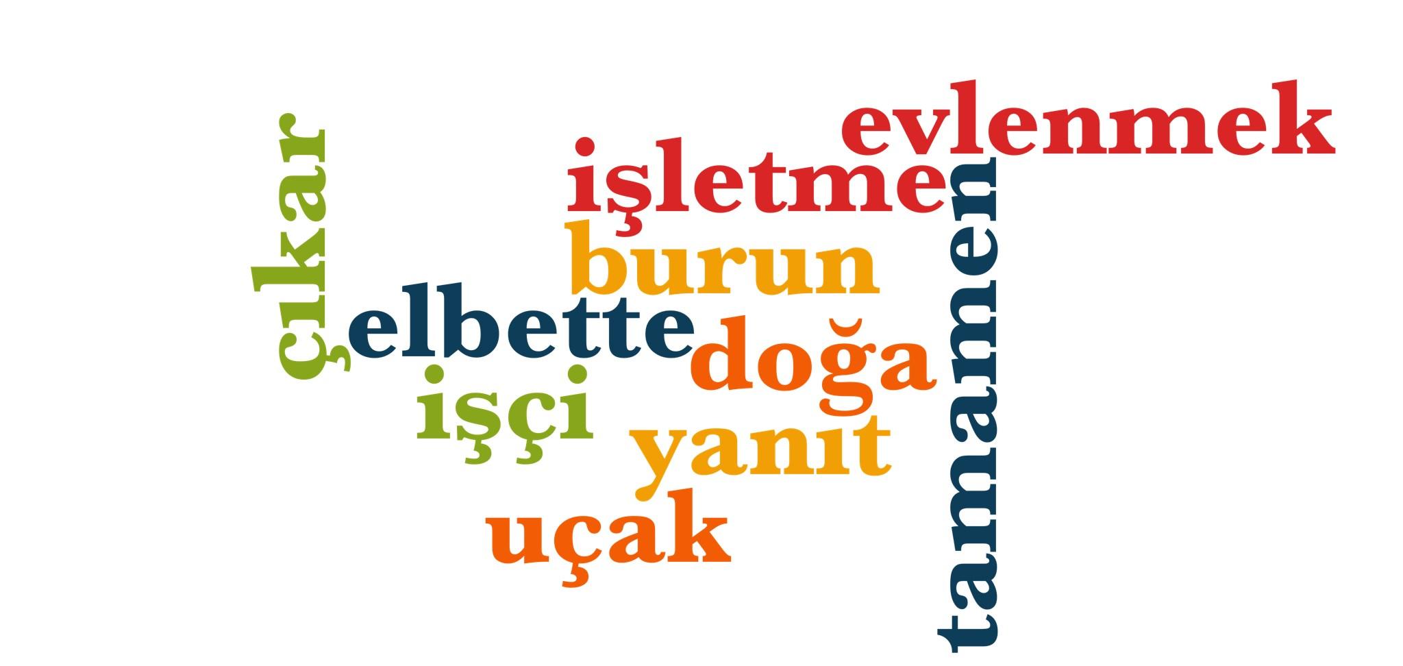 Wörter 841 bis 850 der 1000 häufigsten Wörter der türkischen Sprache
