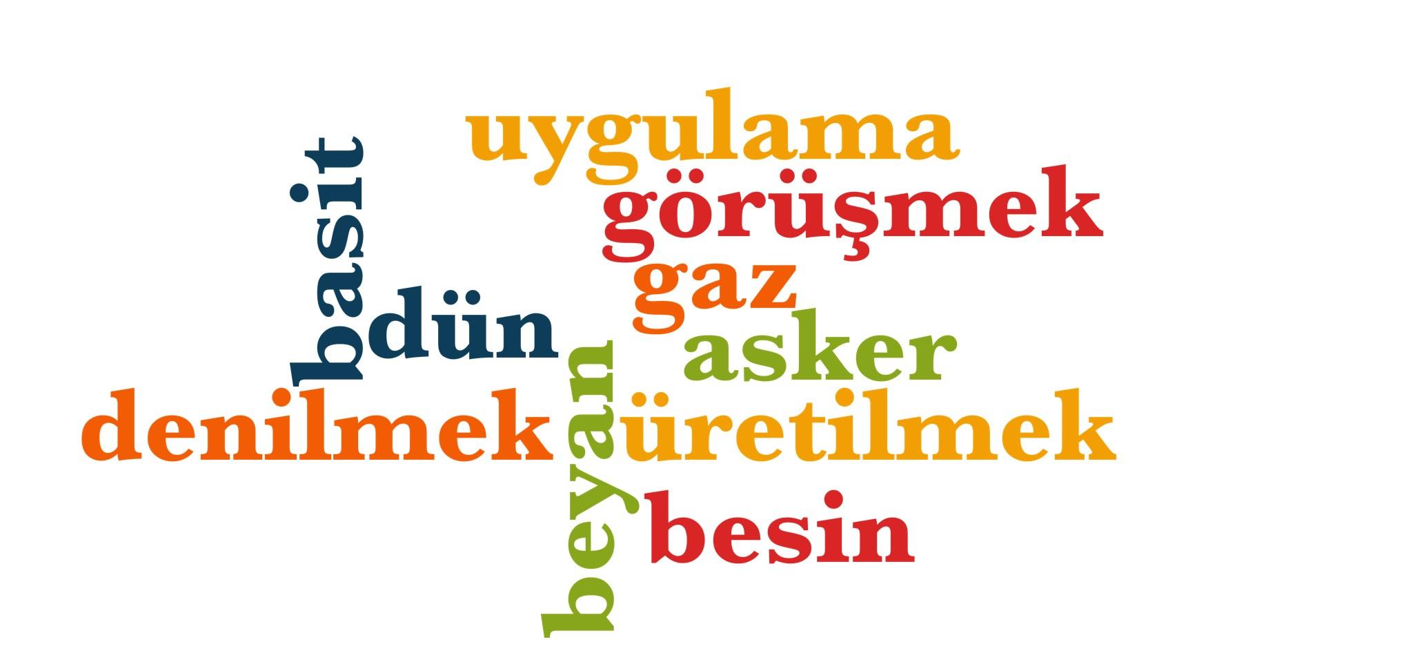 Wörter 911 bis 920 der 1000 häufigsten Wörter der türkischen Sprache