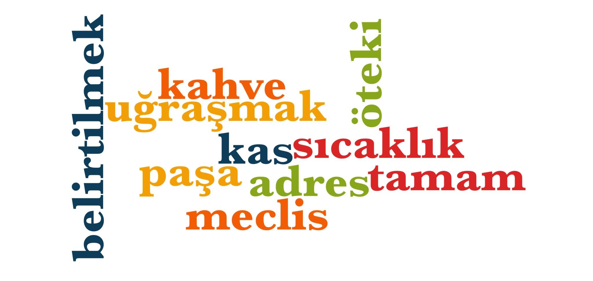 Wörter 961 bis 970 der 1000 häufigsten Wörter der türkischen Sprache